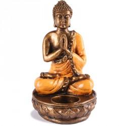 Bougeoir Bouddha en résine - Orange