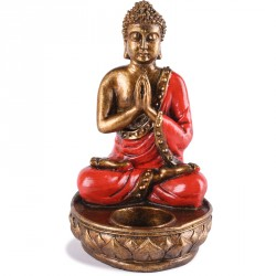 Bougeoir Bouddha en résine - Rouge