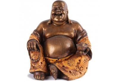 Statue Bouddha Rieur 15 cm - Orange