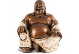 Statue Bouddha Rieur 15 cm - Blanc