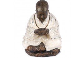 Statue jardin Moine Bouddhiste orange 60 cm - Blanc