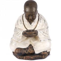 Statue jardin Moine Shaolin 60 cm - Blanc