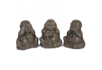 3 Statues Moines de la Sagesse 40 cm - Brun