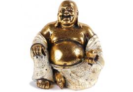 Statue Bouddha Rieur 15 cm - Blanc et doré