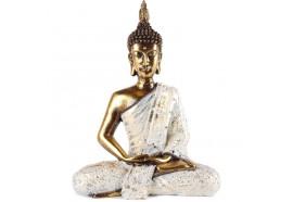 Statue de Bouddha Sukhothai 30 cm - Blanc & Doré