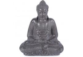Statue Bouddha assis dhyāna-mudrā 42 cm - Gris