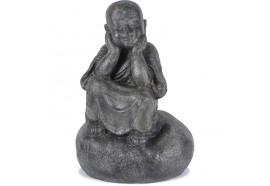 Statue Moine Shaolin Penseur 80 cm - Gris