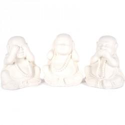 3 Statues Moines de la Sagesse 40 cm - Blanc