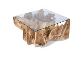 Table basse carrée en racine de teck Dua
