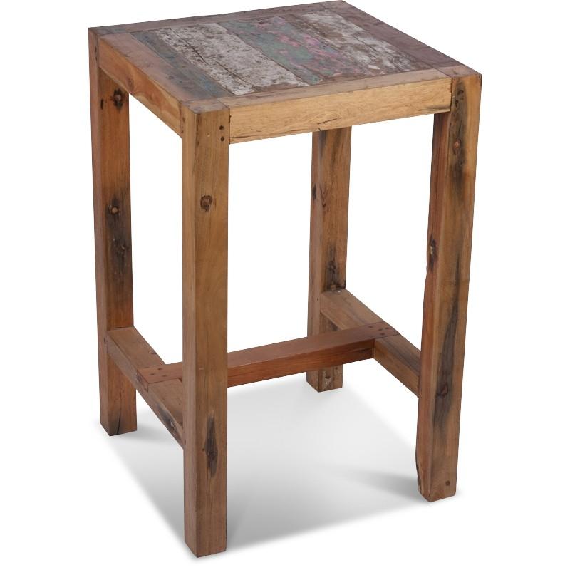 Table Haute carrée 70x70 cm en Bois de Bateau | Koh Deco