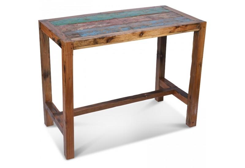 Table Haute Fana 140 x70 cm en Bois de Bateau | Koh Deco