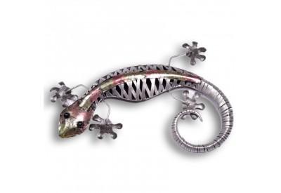 Gecko en métal irisé 75 x 53 cm