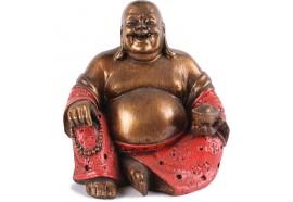 Statue Bouddha Rieur 15 cm - Rouge
