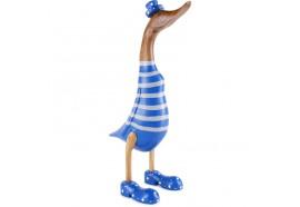 Grand Canard deco à rayures en bois - Bleu et blanc