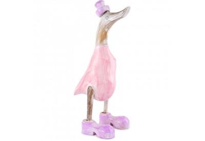 Canard Déco Bicolore en Bois - Rose et Violet