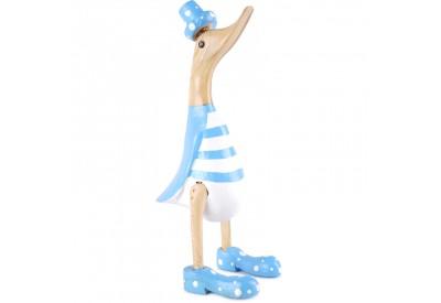 Canard Déco en Bois à Rayures 27 cm - Bleu clair et Blanc
