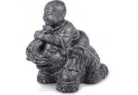 Statue de jardin éléphant & moine 85 cm - Gris