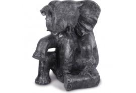 Statue de jardin éléphant assis 100 cm - Gris
