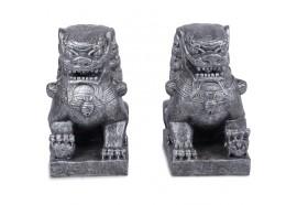 Statue Paire de Chiens de Fo Lions Gardiens chinois - Gris
