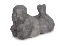 Statue Moine Penseur allongé 60 cm - Gris