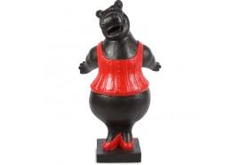 Statue Hippopotame 100 cm - Noir & Rouge