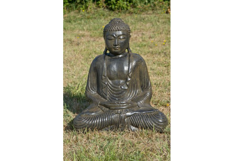 statue de bouddha assis en ciment pour le jardin koh deco. Black Bedroom Furniture Sets. Home Design Ideas