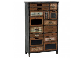 Armoire 10 tiroirs 2 portes en bois & métal Harold - CASITA