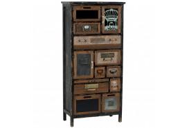 Armoirette 10 tiroirs 2 portes en bois & métal Harold - CASITA