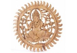 Déco murale Ganesh en suar naturel