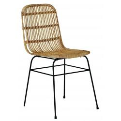 Chaise en rotin & métal Moa