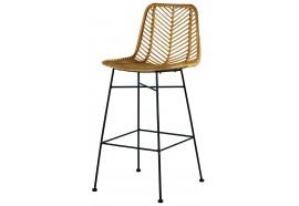 Chaise de bar en rotin & métal Coco