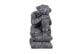 Statue Bouddha Relax 60 cm gris antique - Droite