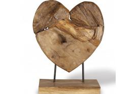 Coeur en bois teck sur socle 50 cm - Modèle Moyen