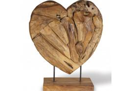Coeur en bois teck sur socle 60 cm - Grand Modèle