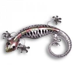 Gecko en métal irisé 50 x 42 cm