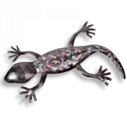 Gecko en métal multicolore