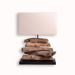 Lampe LOPOK en bois flotté H 49 cm