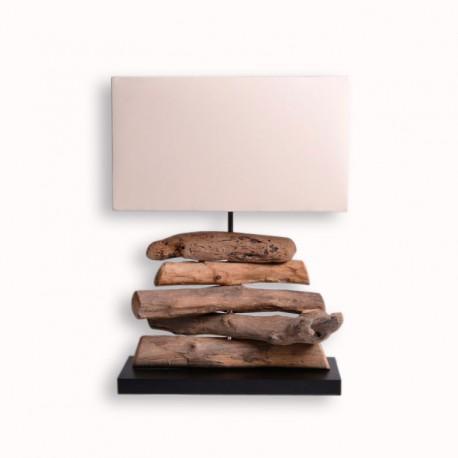 Lampe exotique ht 49 cm en bois flott pour le salon - Meuble en bois flotte ...
