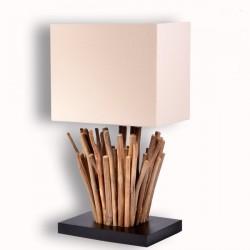 Lampe MIRUA en bois caféier H 44 cm
