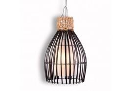 Lampe en bambou et rotin H 52 cm