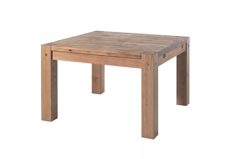 Table carr e en ch ne l 120 cm s jour lodge casita koh deco for Table de sejour carree