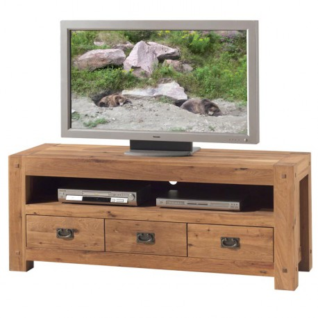 Meuble tv l 150 cm en ch ne salon lodge casita koh deco - Meuble tv en chene naturel ...